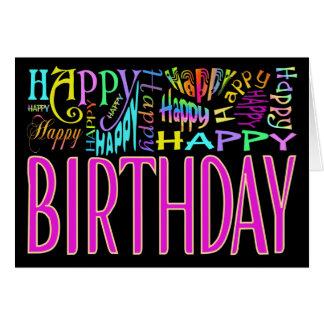 Porciones de feliz cumpleaños tarjeta de felicitación