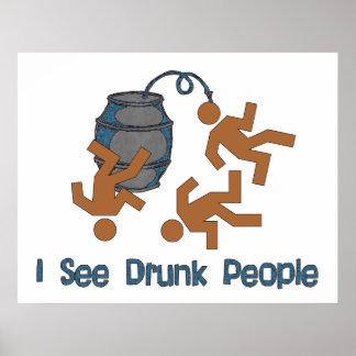Porciones de gente borracha póster