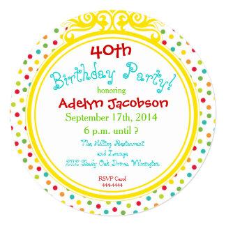 Porciones de invitación del círculo del cumpleaños