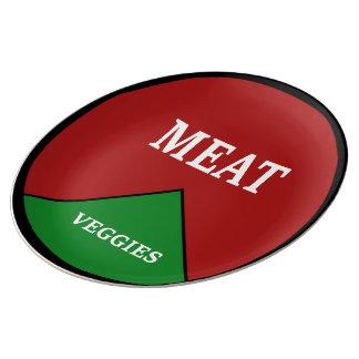 Porciones de la carne y de la verdura plato de cerámica