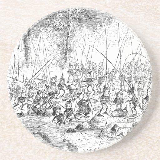 Porciones de la tierra de los pescadores del brown posavasos diseño