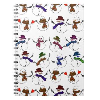Porciones de muñecos de nieve del dibujo animado libros de apuntes con espiral