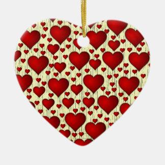 Porciones de ornamento de los corazones adorno navideño de cerámica en forma de corazón