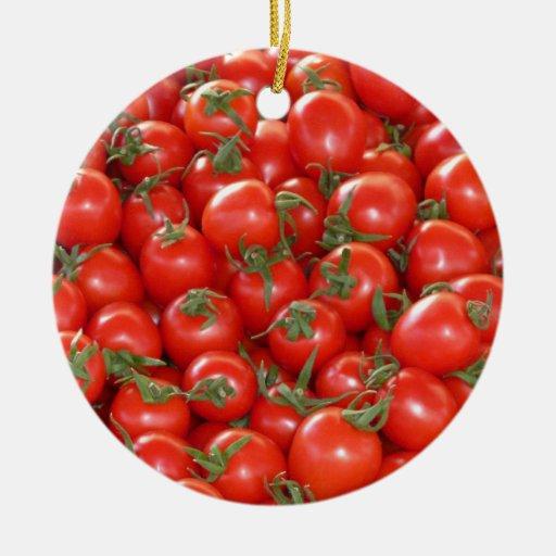 Porciones de ornamento de los tomates de cereza adorno redondo de cerámica