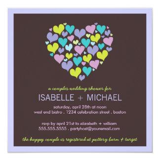 Porciones de pares de los corazones que casan la invitación 13,3 cm x 13,3cm