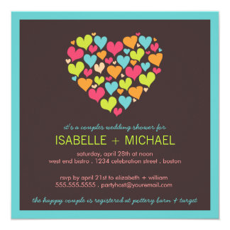 """Porciones de pares de los corazones que casan la invitación 5.25"""" x 5.25"""""""