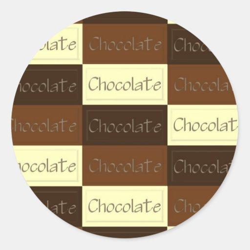 Porciones de pegatina del chocolate