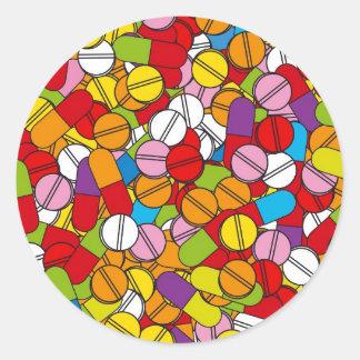 Porciones de píldoras etiquetas redondas