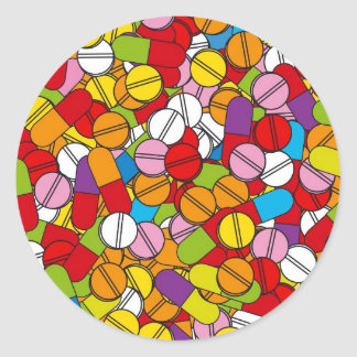 Porciones de píldoras pegatina redonda