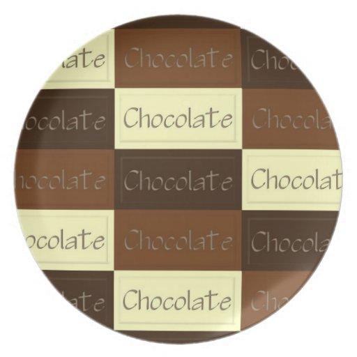 Porciones de placa del chocolate platos de comidas