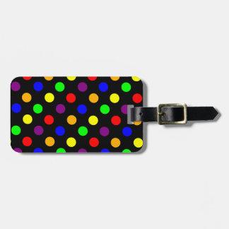 Porciones de puntos coloridos etiqueta de maleta