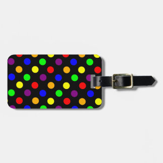 Porciones de puntos coloridos etiquetas maleta