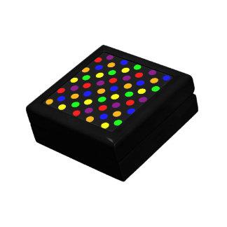 Porciones de puntos coloridos joyero cuadrado pequeño