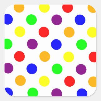Porciones de puntos coloridos pegatina cuadrada