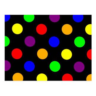 Porciones de puntos coloridos postal