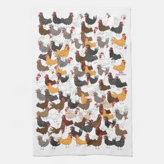 Porciones y porciones de pollos - vertical de la toallas de cocina