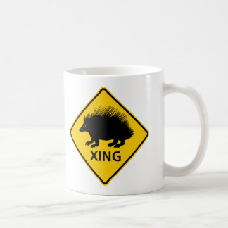 Porcupine Crossing Highway Sign Coffee Mugs