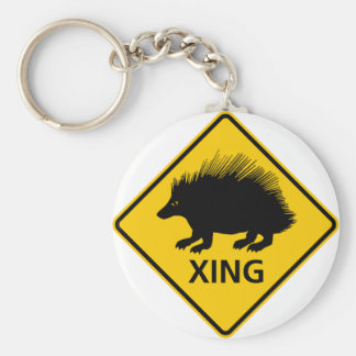Porcupine Crossing Highway Sign Keychain