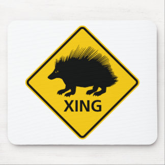 Porcupine Crossing Highway Sign Mouse Mat