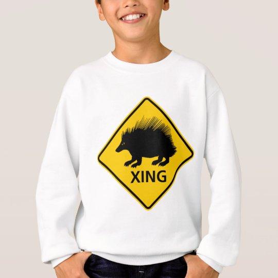 Porcupine Crossing Highway Sign Sweatshirt