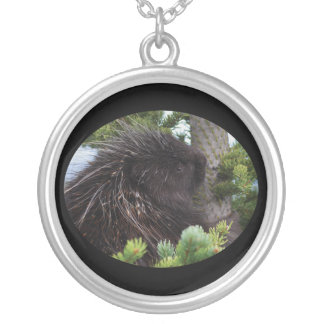 porcupine hug silver plated necklace