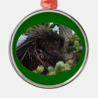 porcupine hugging tree metal ornament