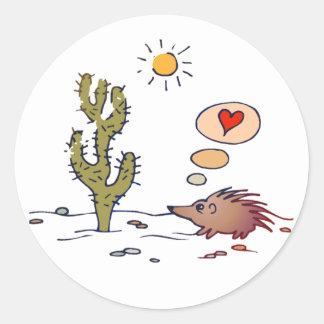 Porcupine Love Classic Round Sticker