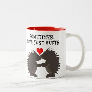 Porcupine Love Hurts Two-Tone Coffee Mug