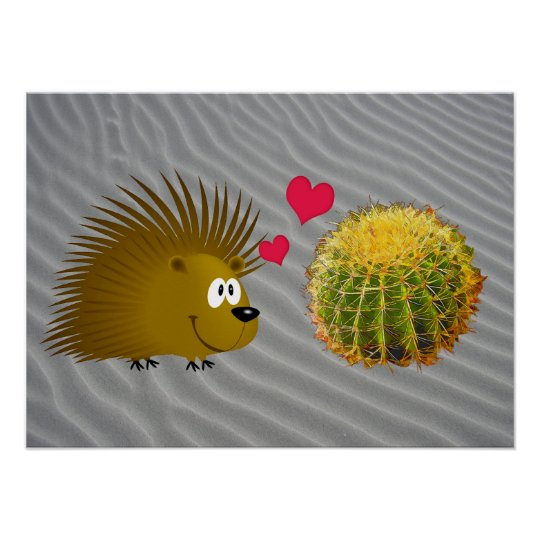 Porcupine Loves Cactus Poster