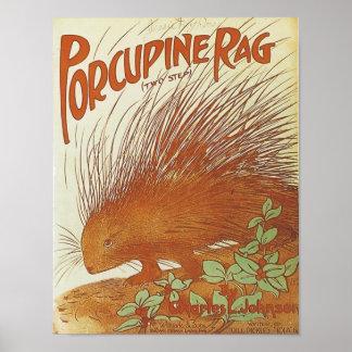 Porcupine Rag Vintage Songbook Cover Poster