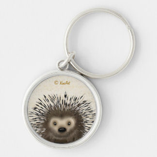 Porcupine Silver-Colored Round Keychain