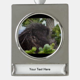 porcupine silver plated banner ornament
