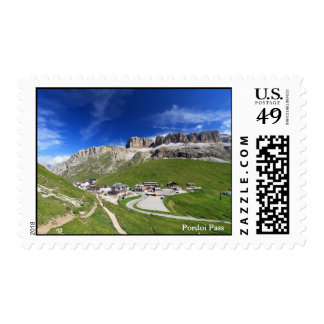 Pordoi pass and mountain stamp