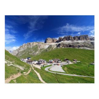 Pordoi pass and mountain postcard