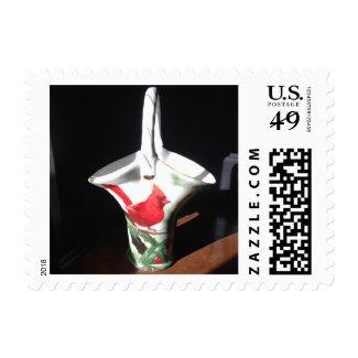 Porecalin Christmas Cardinal Bird Basket Postage Stamp