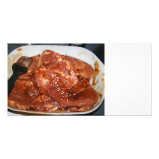 Pork and basting brush resting in pan photo card template