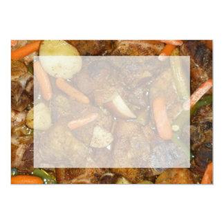 "pork carrots potatoes oven baked food design 5"" x 7"" invitation card"