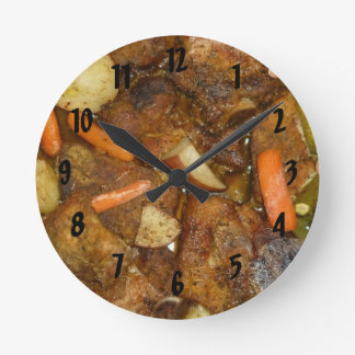 pork carrots potatoes oven baked food design round clock
