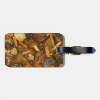 pork carrots potatoes oven baked food design tag for luggage