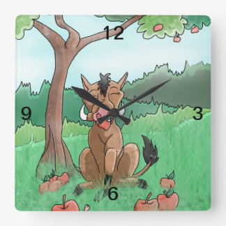 Pork Chop and her apples Square Wall Clock