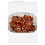 Pork Chops in White Dish Photograph Card