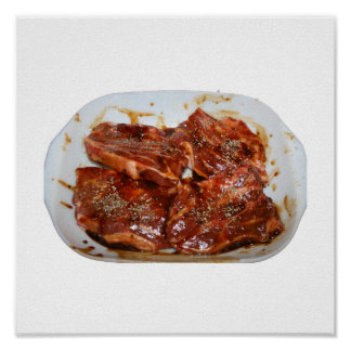 Pork Chops in White Dish Photograph Poster