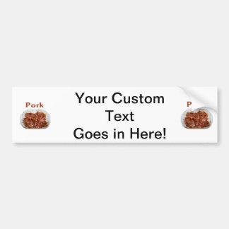 Pork chops in white dish, text PORK Bumper Sticker