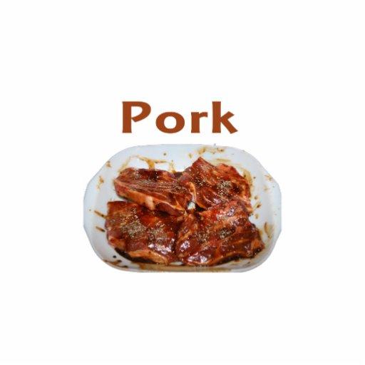Pork chops in white dish, text PORK Standing Photo Sculpture