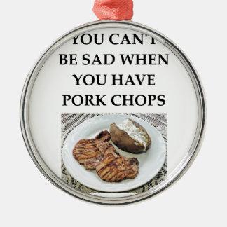 pork chops metal ornament