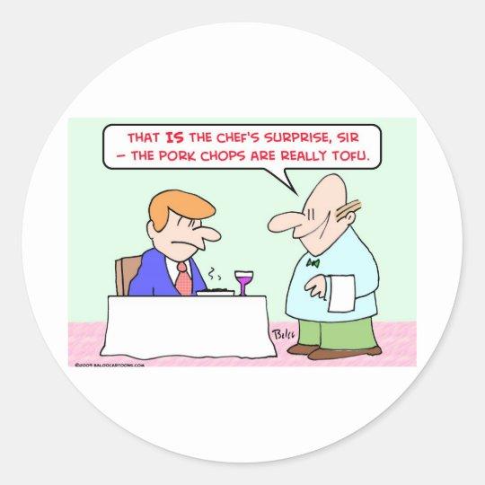 pork chops tofu waiter classic round sticker