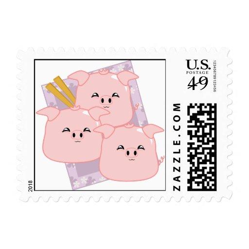 Pork Dumplings Platter Postage Stamp