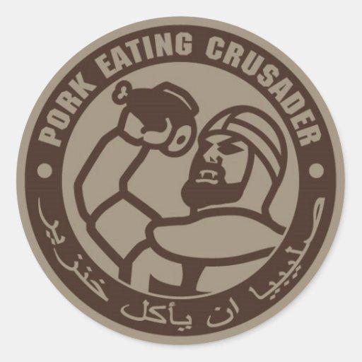 PORK EATING CRUSADER ROUND STICKERS