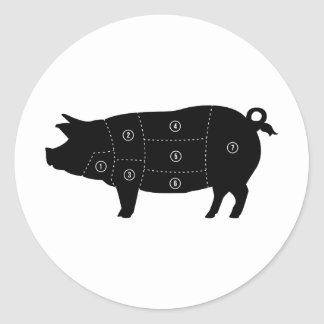 Pork Meat Cuts Butcher Shop Gifts Classic Round Sticker