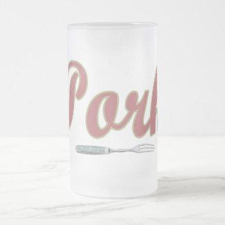 Pork n' Fork Frosted Glass Beer Mug